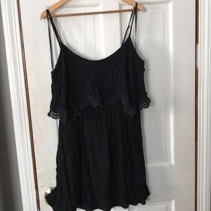 Debs Jr Plus Black Crochet Sundress Lined 2X 1X 18